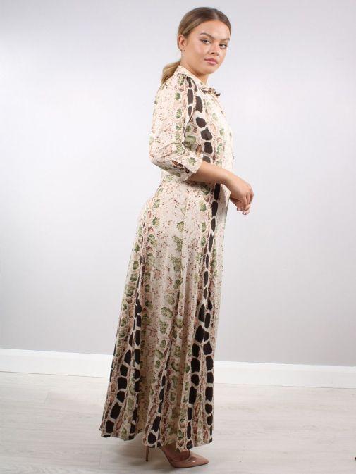 Side shot of Model wearing K Design Snake Print Maxi Dress in Nude