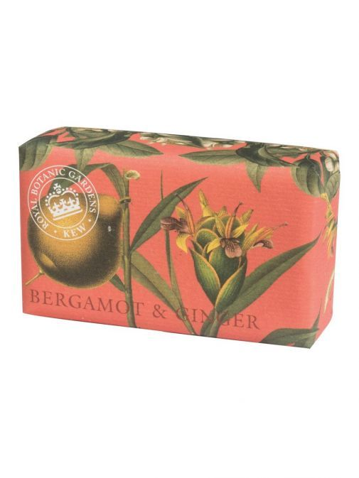 Front shot of the Kew Bergamot and Ginger Soap in the packaging