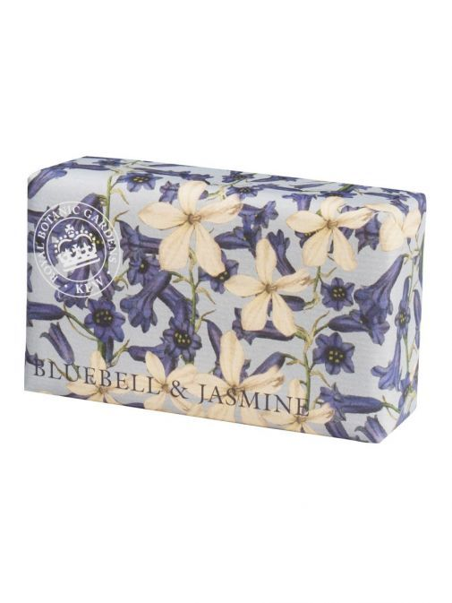 Front shot of the Kew Bluebell and Jasmine Soap in the packaging