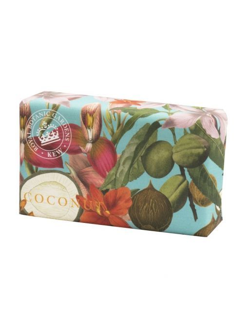 Front shot of the Kew Coconut Soap in the packaging