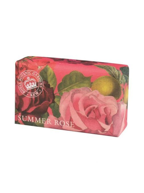 front shot of the Kew Gardens Summer Rose Soap in the packaging