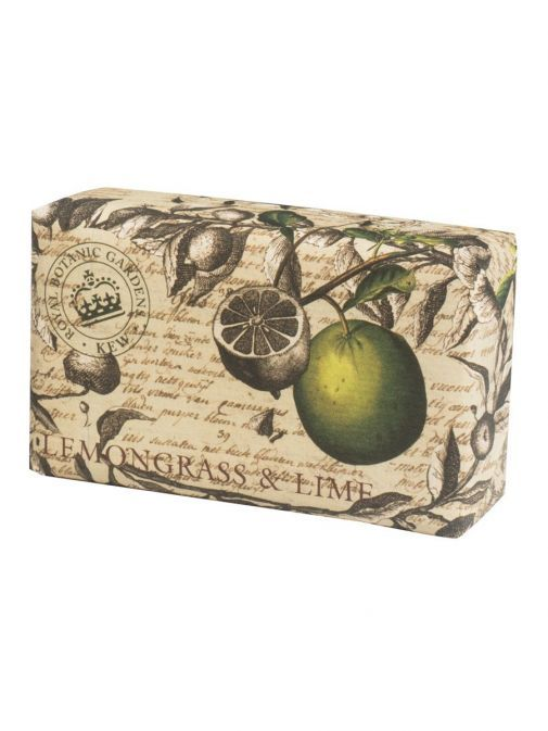 Front shot of the Kew Lemongrass and Lime Soap in the packaging