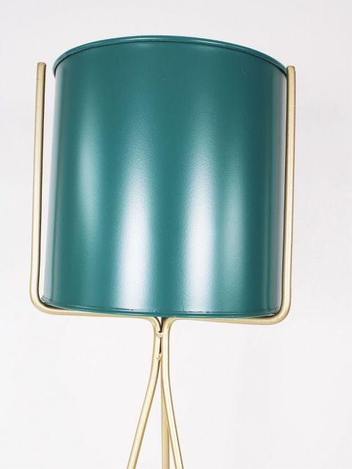 closeup of the Large Planter Turquoise and Gold