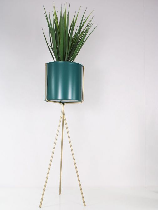 Front shot of the Large Planter Turquoise and Gold with plant