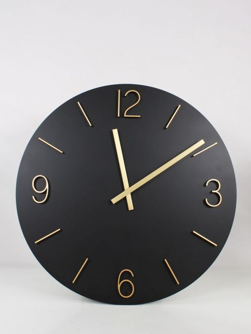 Image of Large Round Wall Clock in Black and Gold