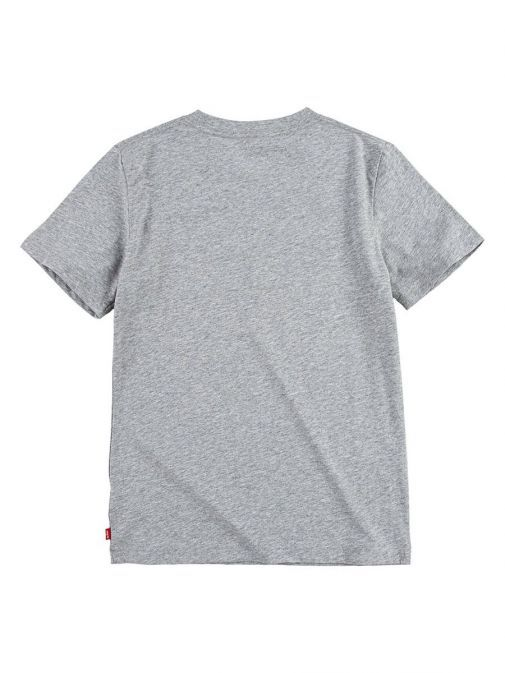 Back shot of the Levi's Kids Batwing T-Shirt in the Grey colour featuring short sleeves and rounded neckline