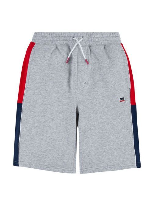 Front shot of Levi's Kids Colour Block Shorts Grey featuring sportswear Levi's Logo patch, sporty colour block side panels, two side pockets, elasticated waistband and decorative drawstrings
