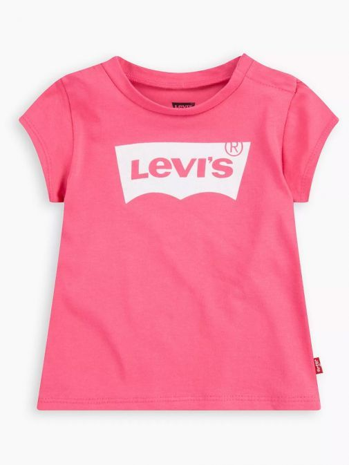 Front shot of the Levi's Kids Glitter Batwing T-Shirt in the pink colour featuring a rounded neckline, short sleeves and glittery batwing logo