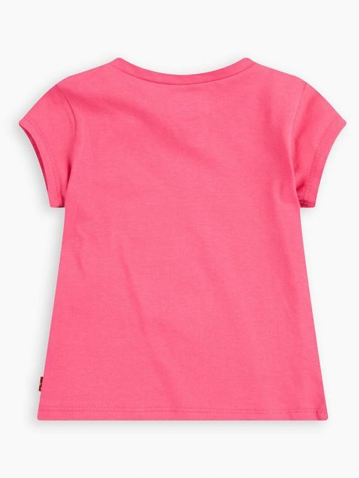 back shot of the Levi's Kids Glitter Batwing T-Shirt in the pink colour featuring a rounded neckline, short sleeves