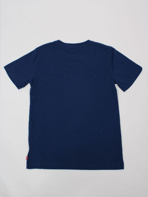 back shot of the Levi's Kids Graphic T-Shirt in the Blue colour featuring rounded neck, short sleeves