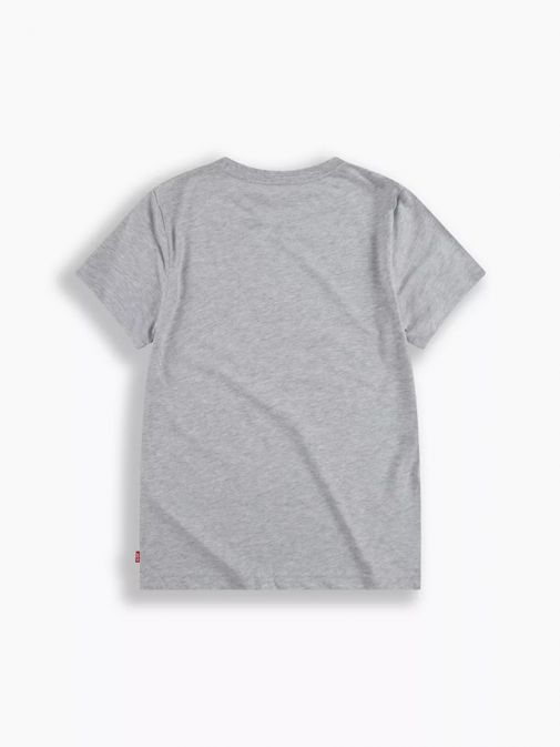 back shot of the Levi's Kids Round Fade Logo T-Shirt in the Grey colour featuring short sleeves, rounded neckline