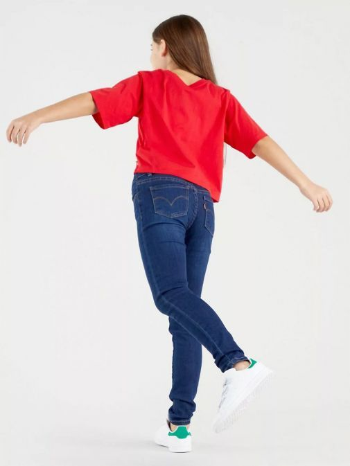 back model shot of Levi's Teenager 710 Super Skinny Jeans in the Complex blue colour featuring pockets, Levi's branding and belt loop