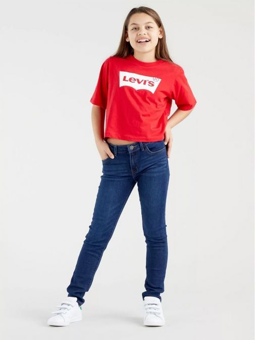 front model shot of Levi's Teenager 710 Super Skinny Jeans in the Complex blue colour featuring pockets, button fastening and belt loop