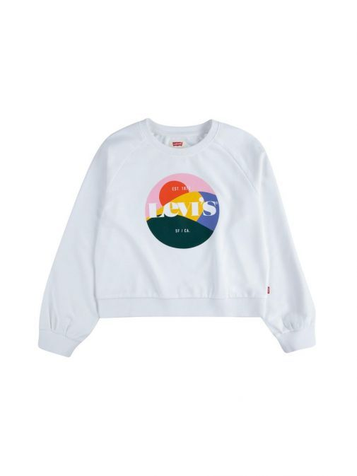 front shot of the Levi's Teenager High Rise Sweatshirt in the White colour featuring a rounded neckline, long sleeve and logo in coloured circle