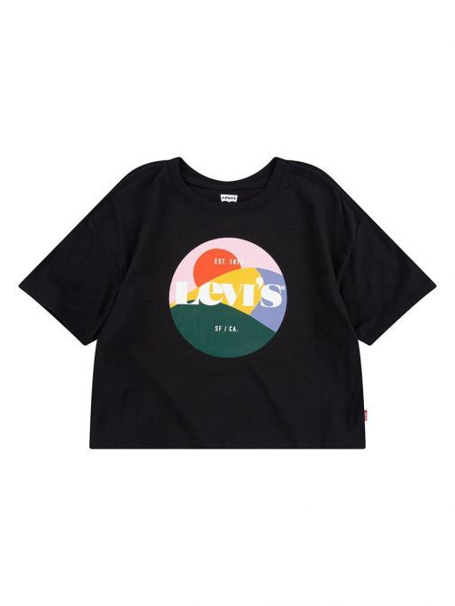 Front shot of the Levi's Teenager High Rise T-Shirt In the Black colour featuring a rounded neckline, short sleeves, boxy cropped fit and Levi's Housemark Logo