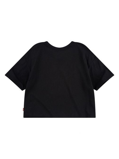 Back shot of the Levi's Teenager High Rise T-Shirt In the Black colour featuring a rounded neckline, short sleeves, boxy cropped fit