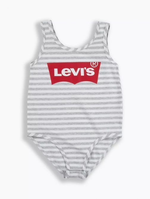 Front shot of the Levi's Teenager Tank Bodysuit in the Grey colour featuring batwing Levi's logo and rounded neckline  and button fastening