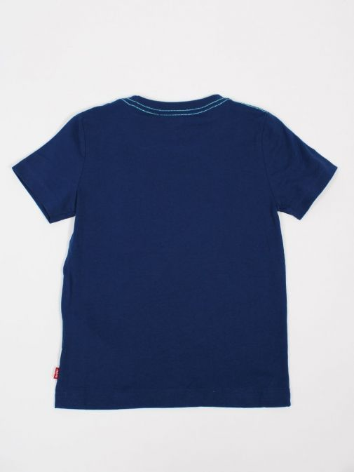 Back shot of Levi's Kids Wavey Logo T-Shirt in Blue