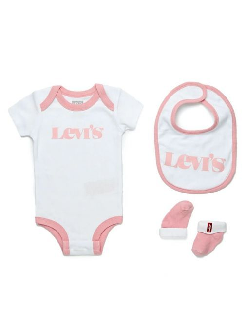 Image of Levis Babygrow, Hat and Slipper Set in Pink and White