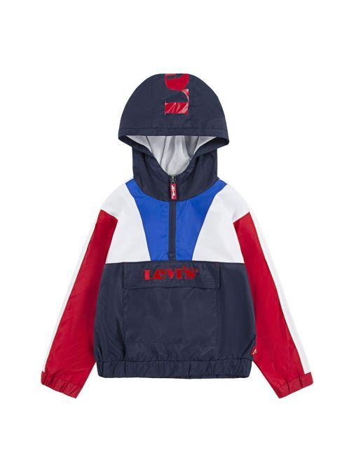 Front shot of the Levis Colour Block Anorak Jacket Multi-Coloured featuring a hood, half-zip, flap pocket featuring red embroidered Levis Logo