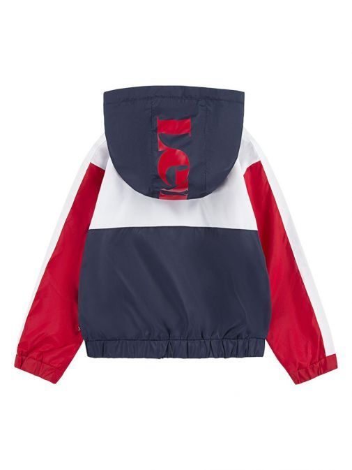 back shot of the Levis Colour Block Anorak Jacket Multi-Coloured featuring a hood featuring red Levis Logo