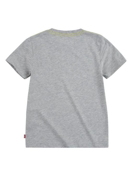 back shot of the Levi's Teenager Graphic T-Shirt in the Grey colour featuring wavey Levi logo, short sleeves and rounded neck