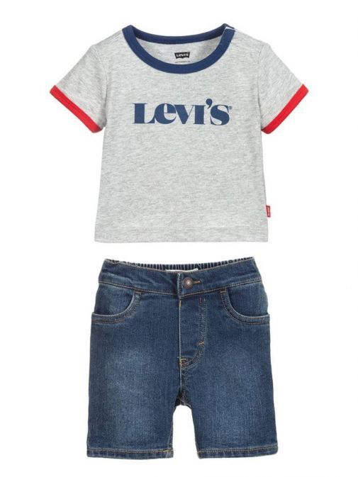 Image of Levis Two Piece Shorts and Tee Set in Grey