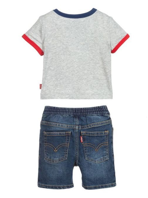 Image from back of Levis Two Piece Shorts and Tee Set in Grey