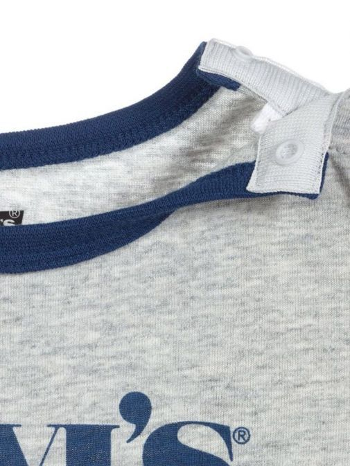Close up of neck of Levis Two Piece Shorts and Tee Set in Grey