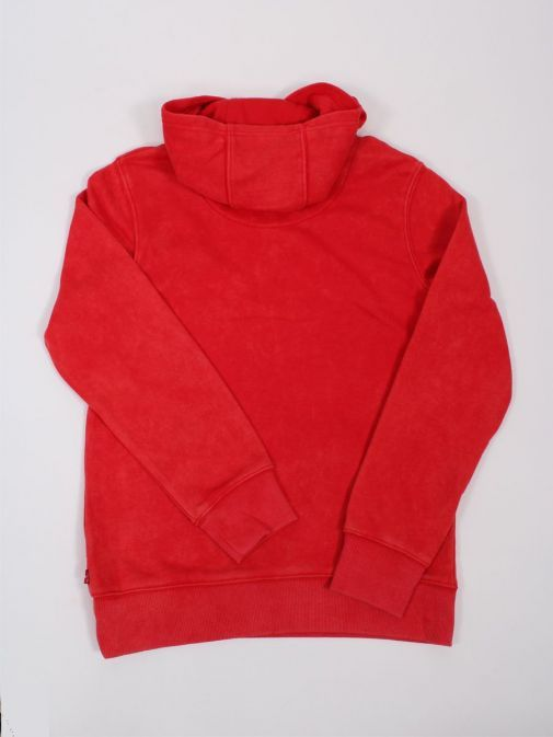 Back shot of Levis Kids Washed Down Logo Hoodie in Red