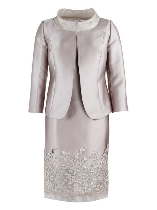 Front shot of Lexus Embroidered Detail Dress and Jacket Set in Blush, Style 12353