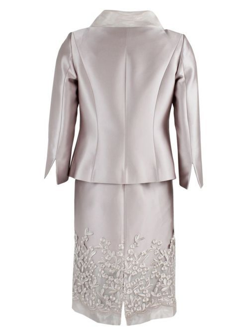 Back shot of Lexus Embroidered Detail Dress and Jacket Set in Blush, Style 12353