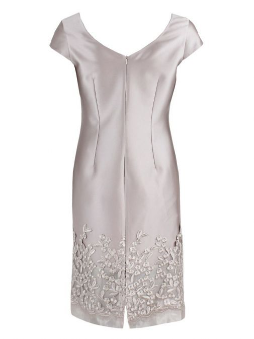Dress only shot from back of Lexus Embroidered Detail Dress and Jacket Set in Blush, Style 12353