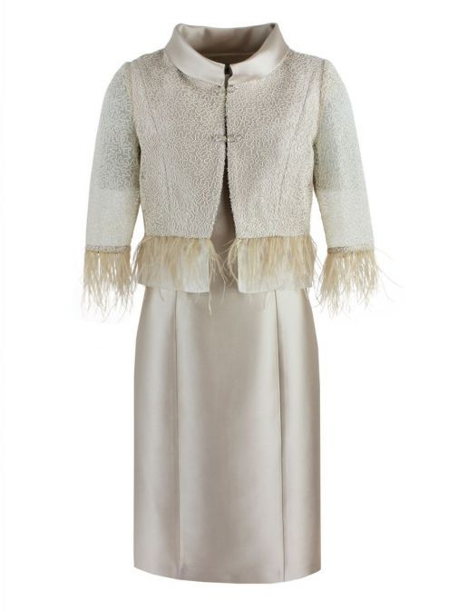 Front shot of Lexus Dress and Feather Detail Jacket in Beige, Style 1249
