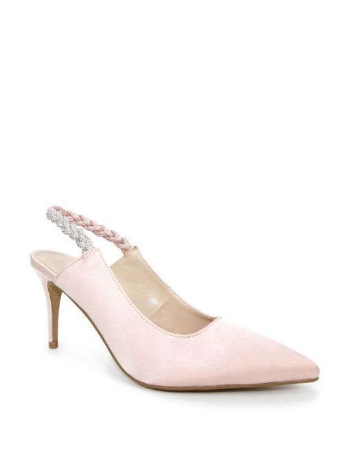 Image of Lunar Confetti Satin Pointed Court Shoes in Pink