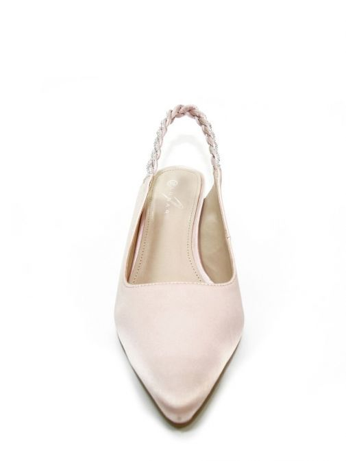 Image from front of Lunar Confetti Satin Pointed Court Shoes in Pink
