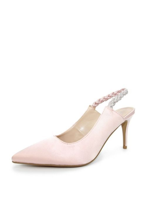 Side shot of Lunar Confetti Satin Pointed Court Shoes in Pink