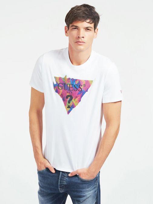 Guess White Psychedelic Triangle Logo T-Shirt M0BI76K8FQ0/TWHT
