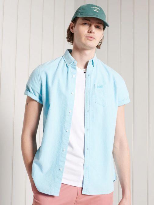 Superdry Sky Blue Classic University Oxford Shirt M4010351a/8H7-Blue