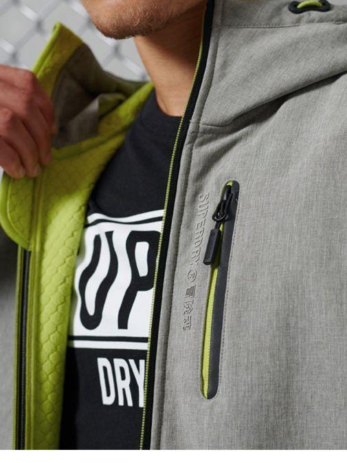 Superdry Grey Marl Hooded Softshell Jacket