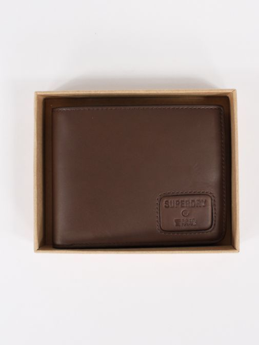 Superdry Dark Brown Leather NYC Bifold Wallet M9810144a/04O-Brown