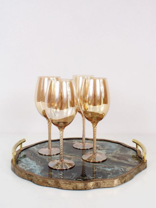 Image of Marble Effect Flat Tray With Handles with wine glasses on it
