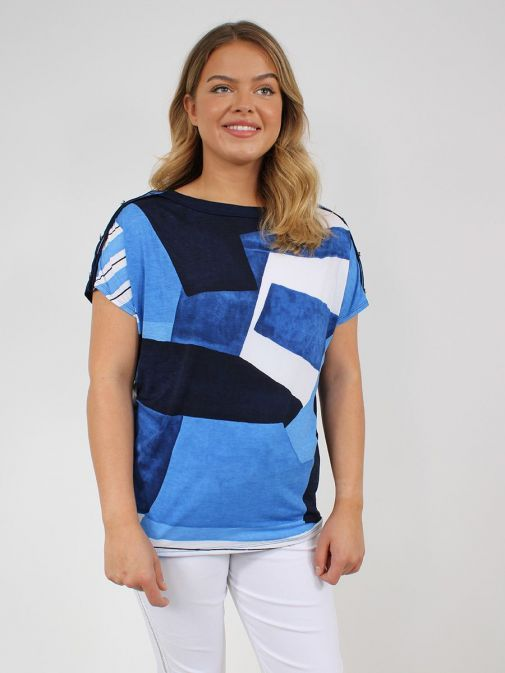 Front shot of the Marble Round Neck Printed Top in the Blue colour featuring a rounded neckline, short sleeves and pattern