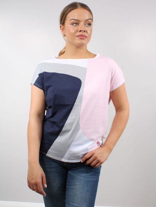 Model wearing Marble Round Neck Printed Top in Multi-Coloured design with navy, grey, white and pink