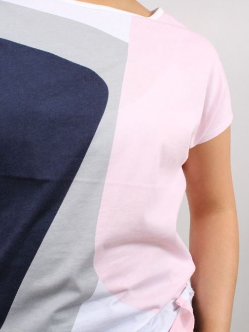 Close up of model wearing Marble Round Neck Printed Top in Multi-Coloured design with navy, grey, white and pink