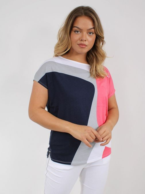 Front shot of the Marble Round Neck Printed Top in the Pink colour featuring short sleeves, rounded neckline and pattern design