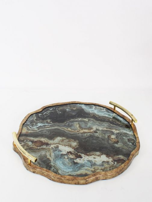 Image of Marble Effect Flat Tray With Handles