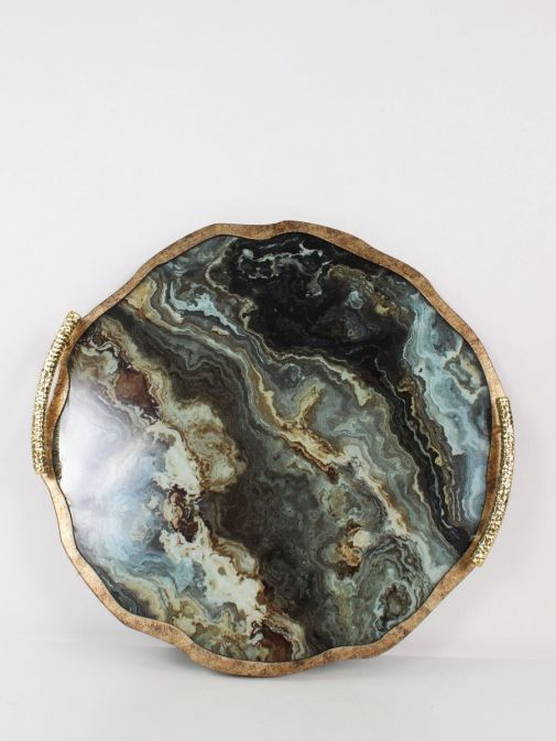 alternative shot of Marble Effect Flat Tray With Handles