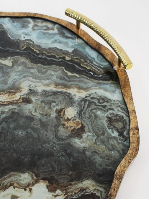 Close up shot of Marble Effect Flat Tray With Handles