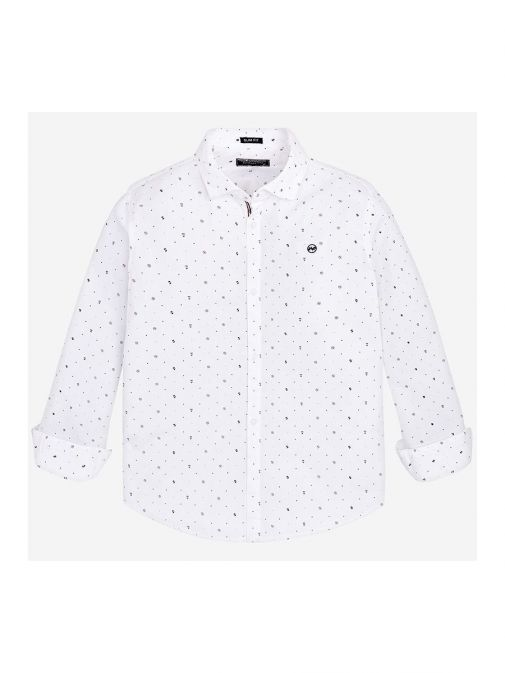 Front shot of the Mayoral Long Sleeve Shirt in the White featuring shirt collar, button fastening and printed design